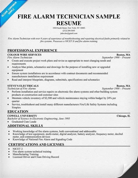 Resume Sle For Alarm Technician Alarm Technician Resume Sle Http Resumecompanion Resume Sles Across All