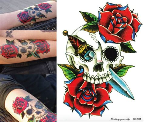 tattoo flash of skulls sugar skull tattoo rose tattoo temporary tattoo skull