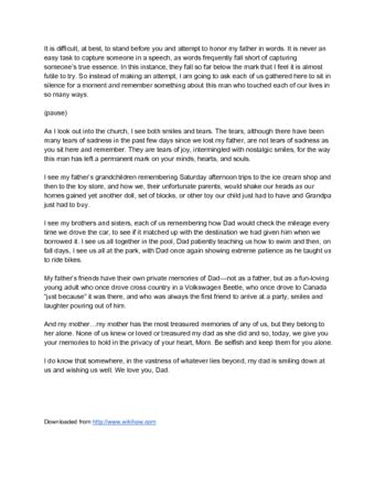 How To Write A Eulogy For A Father 15 Steps With Pictures Eulogy Template