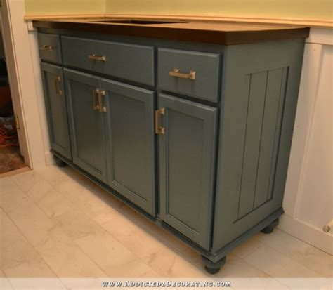 Teal Furniture Style Vanity Made From Stock Cabinets Furniture Style Bathroom Vanities