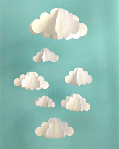 cloud mobile cloud baby mobile hanging baby mobile 3d paper mobile