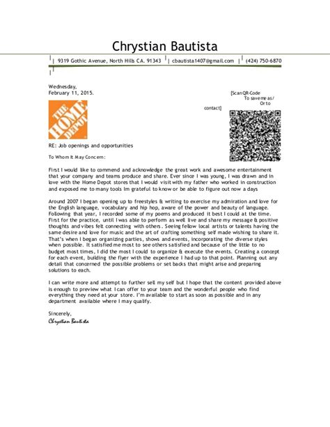 Cover Letter In House Department Chrystian Bautista Cover Letter 2015 Home Depot