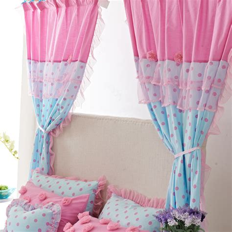 pink and blue curtains sweet polka dots blue and pink cotton lace curtains