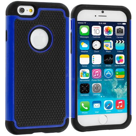 Hardcase Bulu Iphone 6 6s Iphone 6plus black blue hybrid rugged armor protector cover for apple iphone 6 plus 6s plus 5 5