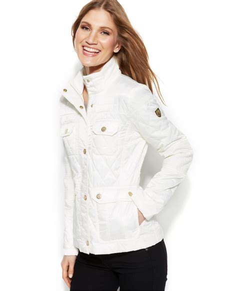 White Quilted Leather Jacket by Vince Camuto Faux Leather Trim Quilted Utility Jacket In White Lyst
