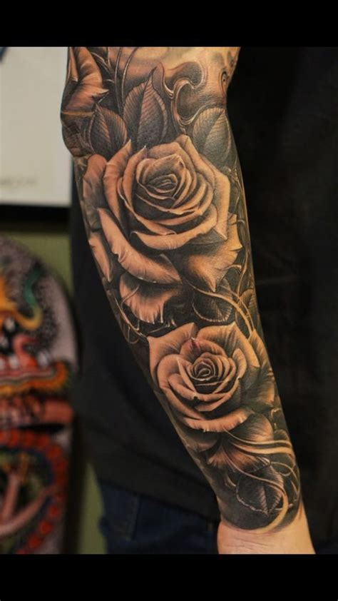 rose sleeve tattoo for men awesome sleve tattoos for idratherbeblown inc