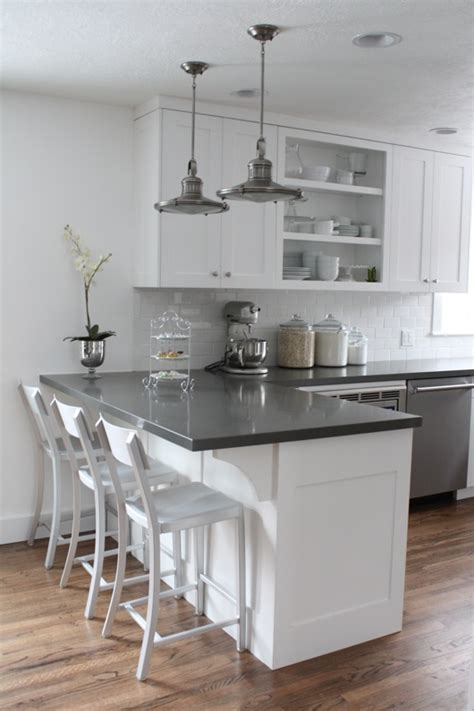 white cabinets gray counters wood floors but i would