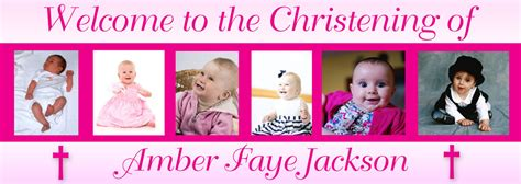 christening banner with 6 photos personalised banners