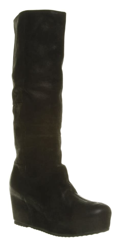 womens office 3 4 flat boot knee high black leather