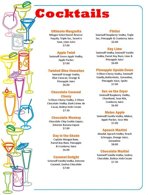 drinks menu template free cocktail templates library