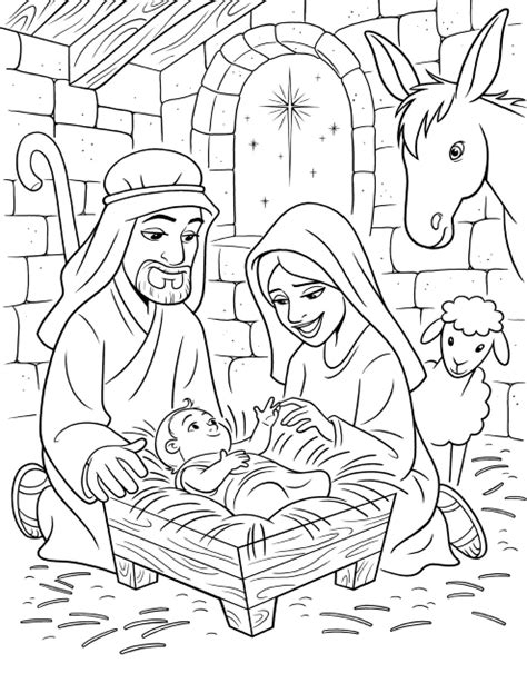 nativity coloring page pdf the birth of christ