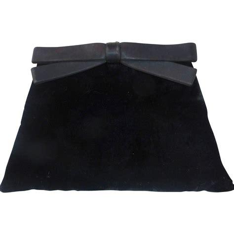Velvet Clutch black velvet clutch purse w satin bow from bejewelled on