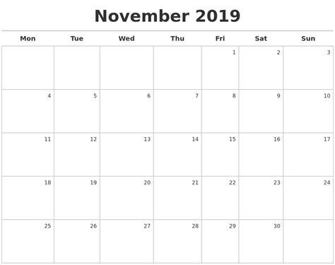 printable calendar maker november 2019 calendar maker