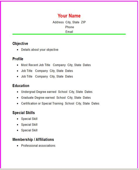 Simple Resume Templates For Highschool Students Basic Chronological Resume Template Open Resume Templates