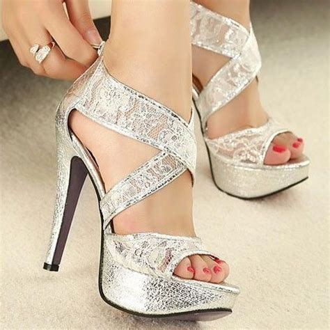 bridal shoes platform high heels hollow out lace strappy wedding shoes platform