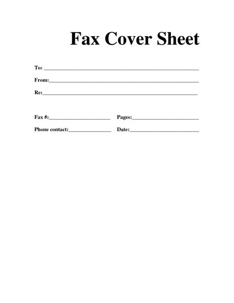 fax cover template free fax cover sheet template printable