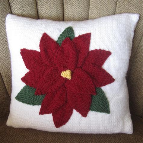 Pillow Cover Pattern by Poinsettia Pillow Cover By Ladyship Knitting Pattern