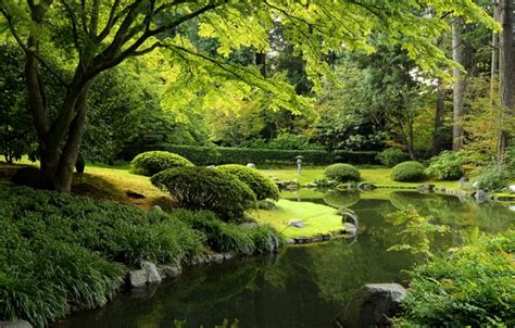 green wallpaper canada wallpaper park nitobe garden trees the bushes greens