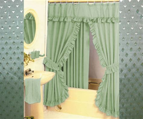 Swag Shower Curtains pattern fabric swag shower curtain set tiebacks hooks many colors ebay