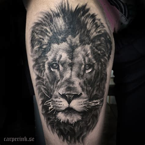 black lion tattoo black and grey