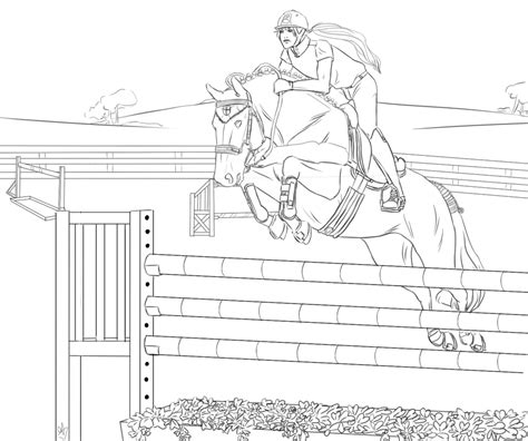 coloring pictures of horses jumping hanovrian show jumping lineart by stableofares on deviantart