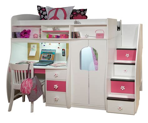 bunk bed with couch and desk white wooden bunk bed with pink white drawers combined with storage also study desk