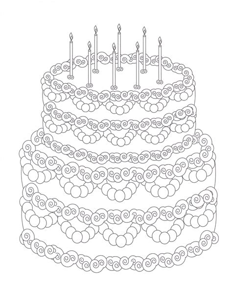 Coloring Page Birthday Cake by Cakes Coloring Pages