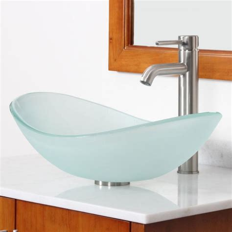 Boat Sink Faucet by New Bathroom Boat Shape Frosted Glass Vessel Sink Brushed