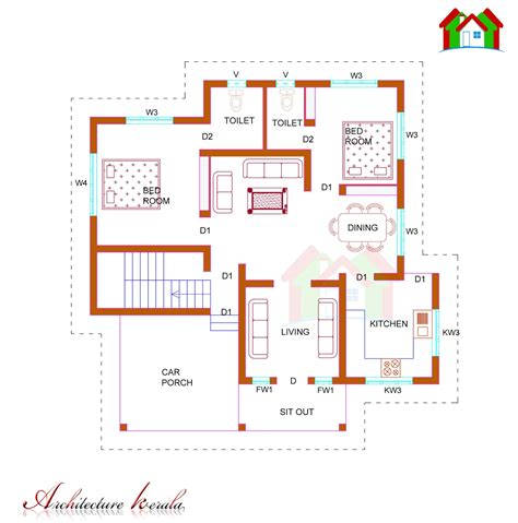 house plans in kerala with estimate 1100 square feet single storied house plan architecture