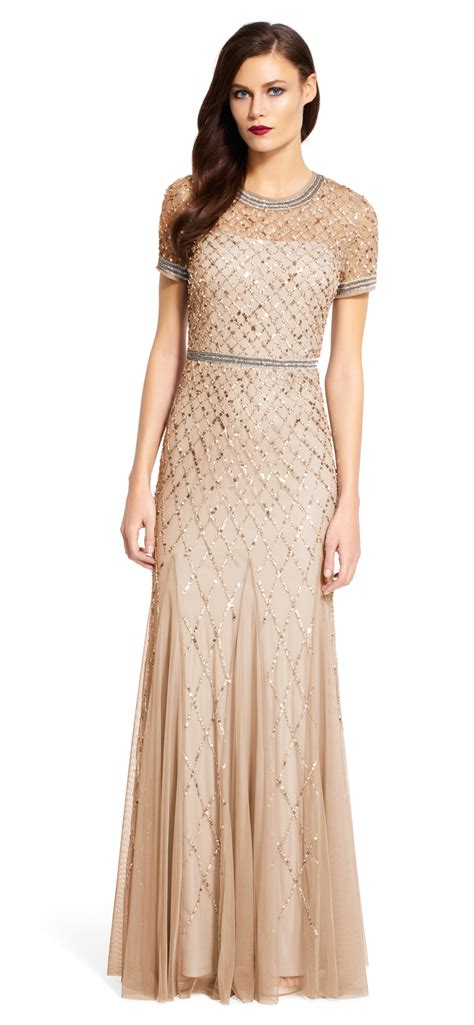 beaded gown papell cap sleeve beaded gown in lyst
