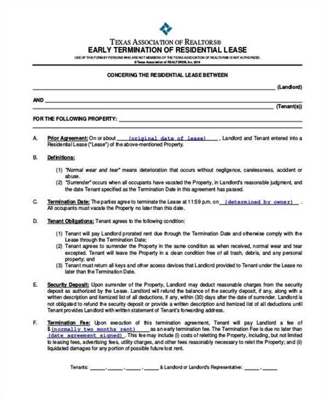 Lease Termination Agreement Exle 8 Residential Lease Agreement Form Sles Free Sle Exle Format