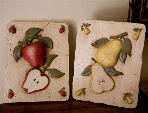 Kitchen Fruit Decor fruit kitchen decor vintage fruit plaques apple and pear for