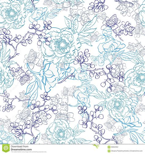 z pattern in graphic design vector blue japanese floral kimono line art stock vector