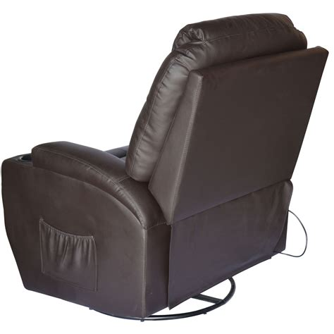 heated recliner chair homcom massage heated pu leather 360 degree swivel