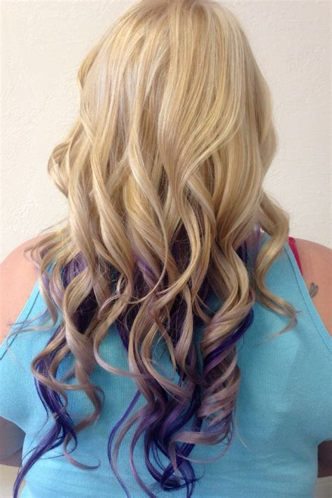Hair On Pinterest 676 Pins   blonde highlights with purple and lavender peekaboos my