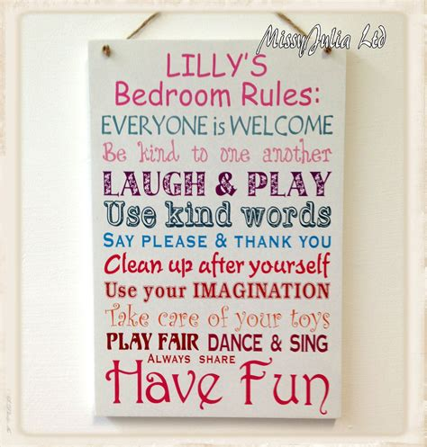 bedroom rules personalised children bedroom rules wooden plaque boy girl