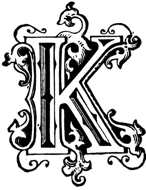 R K K k ornamental letter lettering alphabet