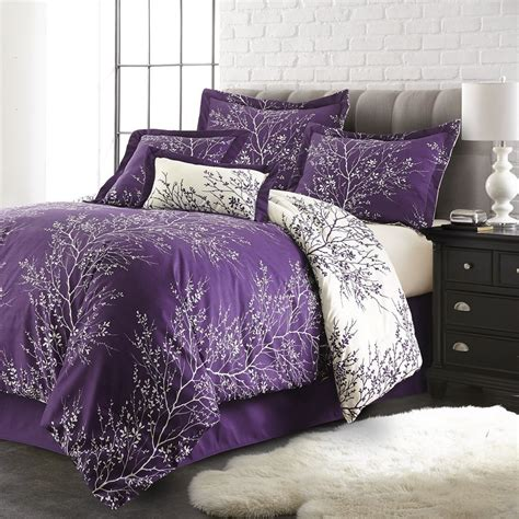 plush comforter queen purple ivory 6 piece foliage collection plush