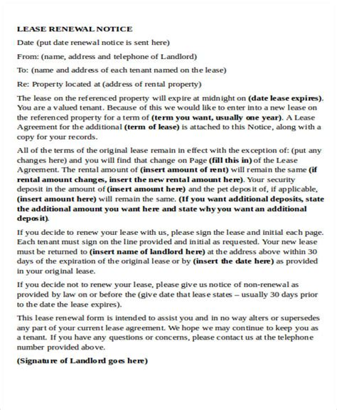 Residential Lease Agreement Renewal Letter Agreement Letter Formats