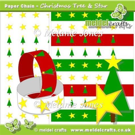 christmas tree and star paper chains it s free