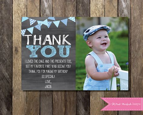 1st birthday thank you card template chalkboard thank you card with picture chalkboard thank you