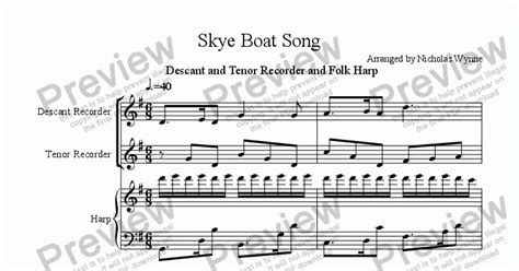 skye boat song on recorder skye boat song for descant and tenor recorder and folk harp