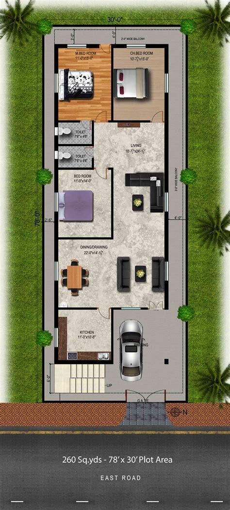 east floor plan way2nirman 260 sq yds 30x78 sq ft east house 3bhk