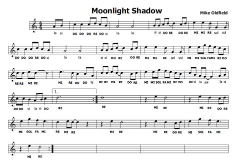in the moonlight testo musica e spartiti gratis per flauto dolce moonlight shadow