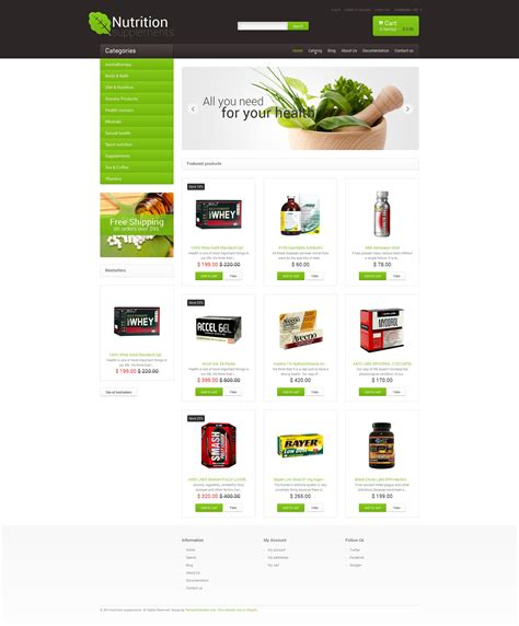 shopify themes supplement nutrition store responsive shopify theme 48997