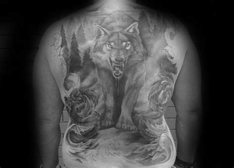 40 wolf back tattoo designs for men fierce ink ideas