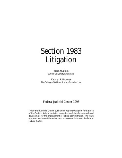 section 1983 lawsuits section 1983 litigation by karen blum 136 pages