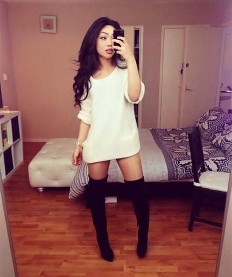 knee high boots and sweater dresses images