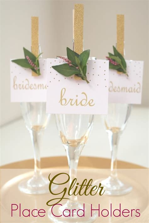 diy place card holders diy glittered clothes pin place card holders sweetly