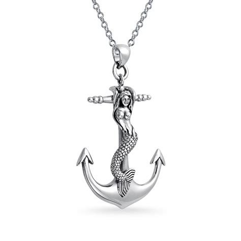 925 sterling silver nautical mermaid large anchor pendant